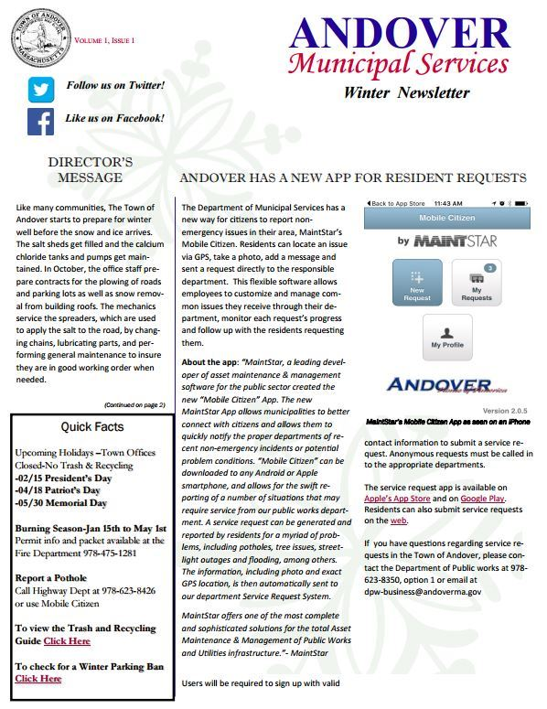 Municipal Services Department Seasonal Newsletter
