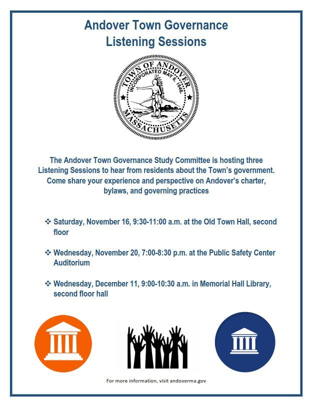 Town Governance Listening Sessions Flyer