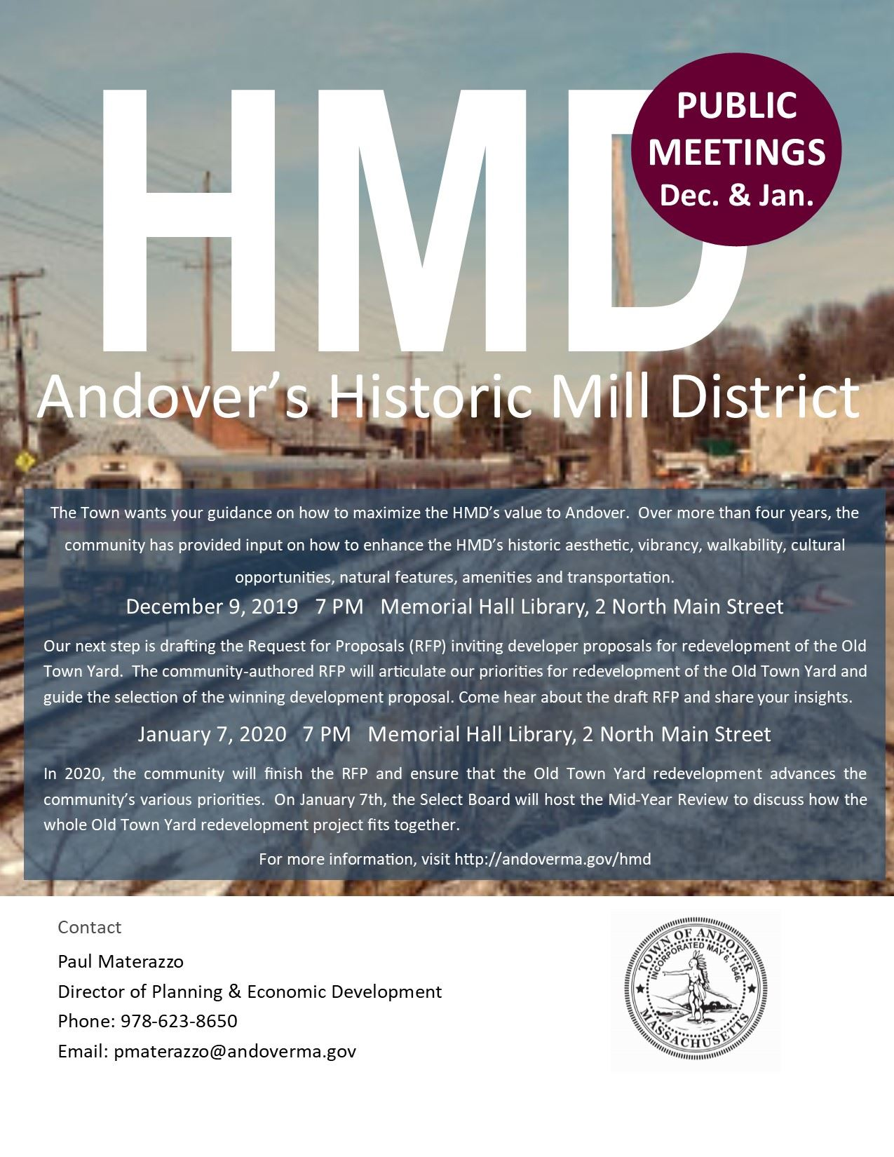 Historic Mill District Public Forums December 2019 and January 2020